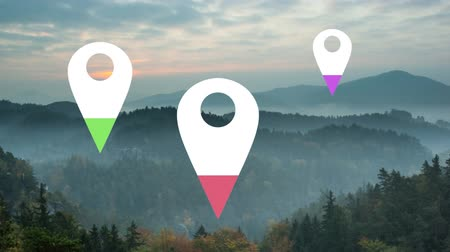 puntatore : Animation of location pins filling up with purple, pink and green color over landscape in the background