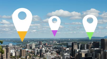 wijzer : Animation of location pins filling up with yellow, purple and green color over cityscape in the background