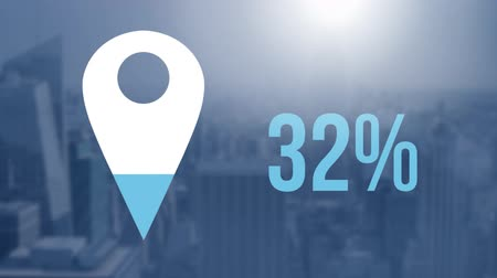 completo : Animation of location pin and percent increasing from zero to one hundred filling in blue over cityscape in the background