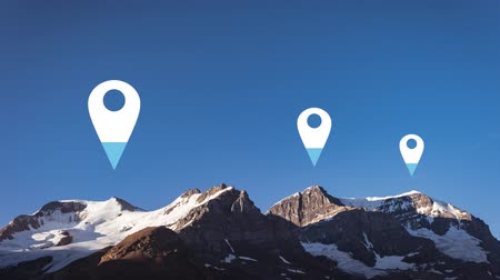 wijzer : Animation of location pins filling up with blue color over landscape in the background