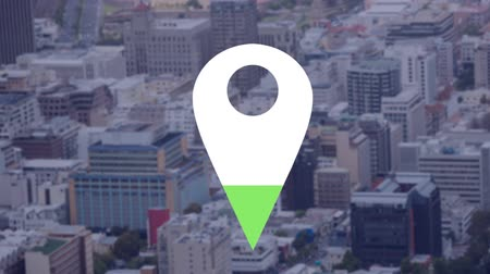 wijzer : Animation of location pin filling up with green color over cityscape in the background