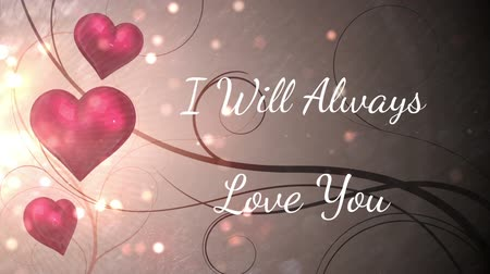desenli : Animation of the words I Will Always Love You written in white with glittering spots and red hearts on patterned background