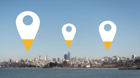 wijzer : Animation of location pins filling up with yellow color over cityscape in the background