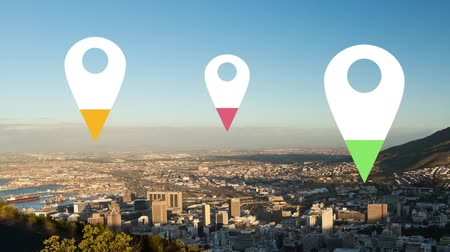 puntatore : Animation of location pins filling up with yellow, pink and green color over cityscape in the background