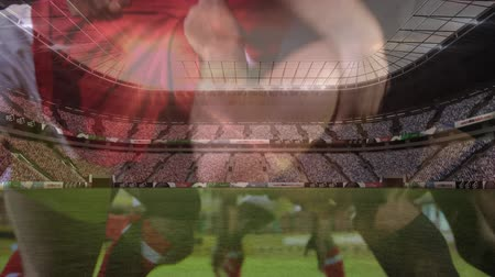 zift : Animation of rugby players in a scrum during a match with a pitch and a stadium in the background