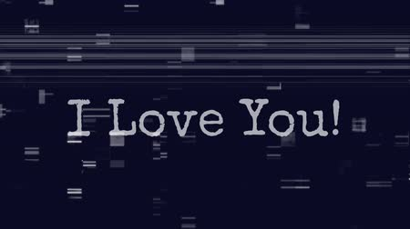 i love you : Animation of the words I Love You written in white with flickering lines and squares on blue background