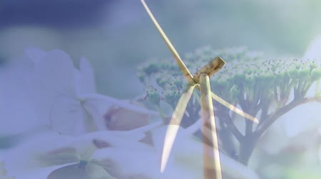 udržitelnost : Animation of turning wind turbine with flowers in the foreground