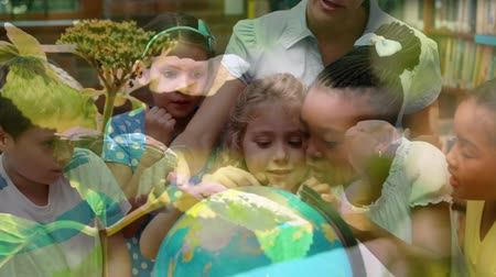 odpowiedzialność : Animation of female teacher and multi-ethnic school children using globe at school with plants in the foreground