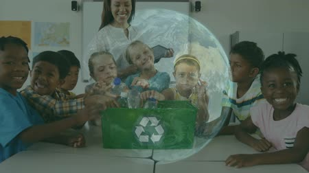 environmental awareness : Animation of a group of multi-ethnic school children with their female teacher recycling plastic to a green box with recycling sign on and smiling to camera at school with spinning globe in the foreground