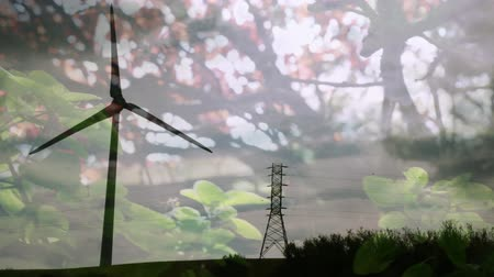 environmental awareness : Animation of turning wind turbine with trees in the foreground Stock Footage