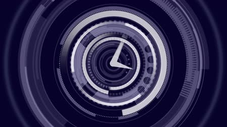 организации : Animation of fast moving clock with circles spinning around it in the background