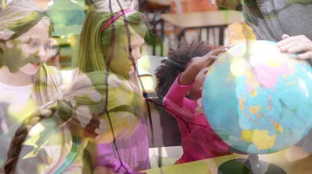 environmental awareness : Animation of female teacher and multi-ethnic schoolgirls using globe at school with trees in the foreground