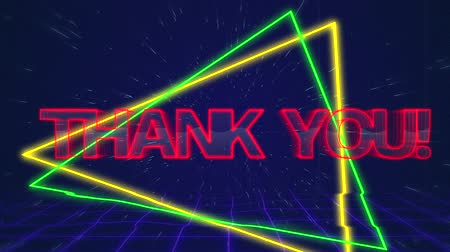 obrigado : Animation of the words Thank You written in red capital letters on green and yellow triangles over a moving purple grid with a dark blue starry night sky background