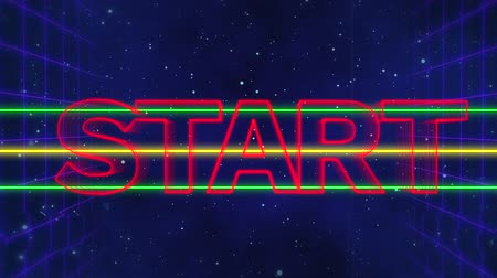 distorcida : Animation of the word Start written in red capital letters on green and yellow horizontal lines over a moving purple grid with a dark blue starry night sky background Vídeos
