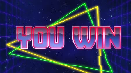 you win : Animation of the words You Win written in red capital letters filled with lilac and white on green and yellow triangles over a moving purple grid with a dark blue starry night sky background