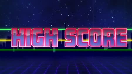 distorcida : Animation of the words High Score written in red capital letters filled with lilac and white on green and yellow horizontal lines over a moving purple grid with a dark blue starry night sky background
