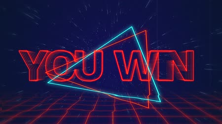 you win : Animation of the words You Win written in red capital letters on blue and red triangles over a moving red grid with a dark blue starry night sky background Stock Footage
