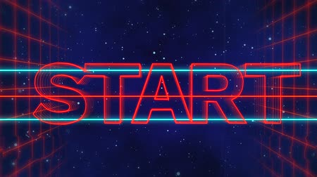 letreros : Animation of the word Start written in red capital letters on blue and red horizontal lines over a moving red grid with a dark blue starry night sky background