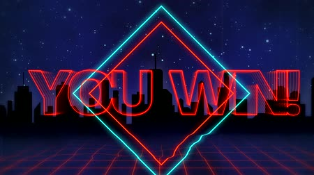 you win : Animation of the words You Win! written in red capital letters on blue and red diamond shapes over a moving red grid with a silhouetted cityscape and dark blue starry night sky background