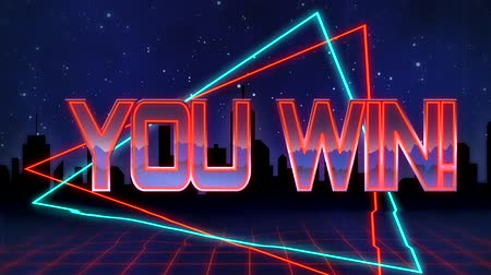 you win : Animation of the words You Win! written in red capital letters filled with lilac and orange on blue and red traingles over a moving red grid with a silhouetted cityscape and dark blue starry night sky background