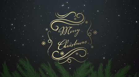 seasons changing : Animation of the words Merry Christmas written in gold with snow falling on black background. Festive christmas concept.