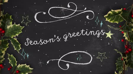 падуб : Animation of the words Seasons Greetings written in white with snow falling and holly and berries Christmas decorations on black background. Festive christmas concept.