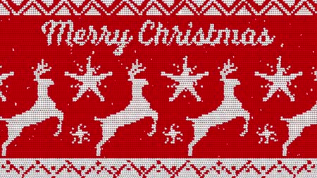 tejidos de punto : Animation of the words Merry Christmas against christmas jumper background in red