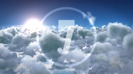 yedi : Animation of countdown on New Year Eve, from ten to zero in white numbers with clouds in the background
