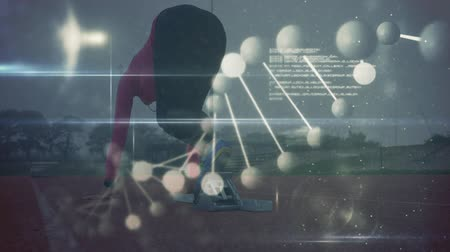 geny : Animation of a DNA strand and data processing with a rear view of a woman starting a race on a racing track in the background