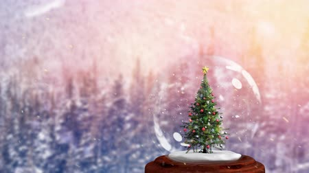 snow globe : Animation of Christmas snow globe with Christmas tree inside and snow falling with fir trees in the background