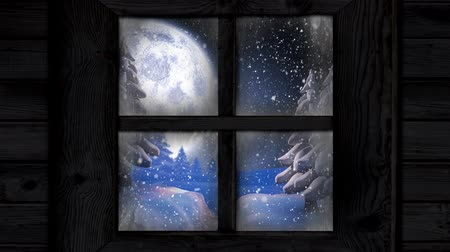 légköri : Animation of winter scenery seen through window with snowflakes falling, full moon and fir trees in countryside