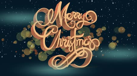 sfeervol : Animation of the words Merry Christmas written in orange with floating spots of light and snow falling on blue background Stockvideo