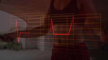 skákání : Animation of heartbeat monitor with a mid section of a woman skipping with a skipping rope in the background