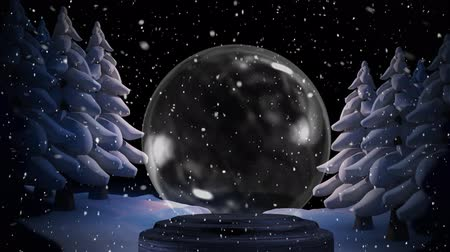 snow globe : Animation of Christmas snow globe, snow falling and fir trees in countryside Stock Footage