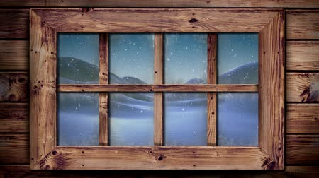канун : Animation of winter scenery seen through window with snowflakes falling and snow covered countryside