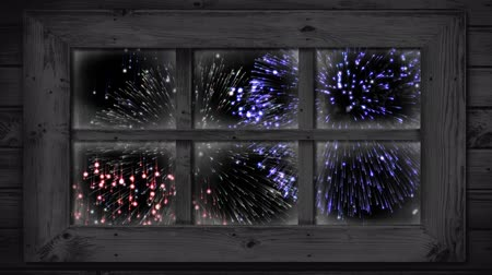firework display : Animation of firework display seen through window at night Stock Footage