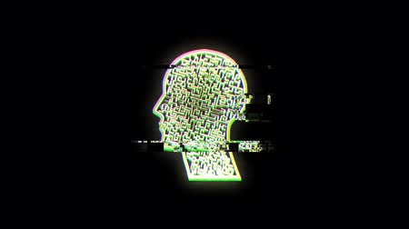 labirinto : Animation of human head with green outlined labyrinth flickering on black background