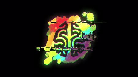 paint splash : Animation of drawing of human brain on rainbow paint splash on black background Stock Footage