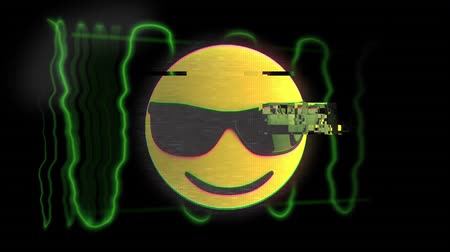 emoticon : Animation of cool emoji icon with sunglasses and green wave on black background Stock Footage