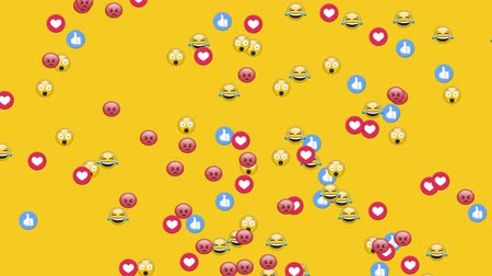 emoticon : Animation of group of emojis, thumbs up and heart icons flying up on yellow background