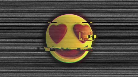 emoticon : Animation of flickering love emoji icon on grey striped background