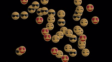 lol : Animation of emoji icons flying up on black background Stock Footage