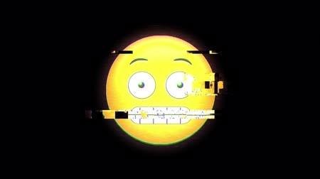 иероглиф : Animation of surprised emoji icon flickering on black background
