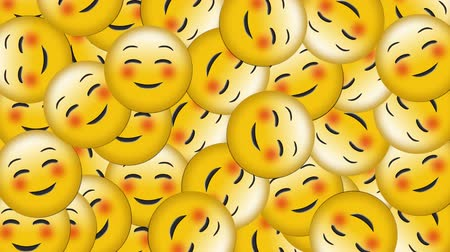 risonho : Animation of group of happy emoji icons falling on black background