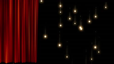 cortinas : Animation of red curtain revealing glowing lights falling on black background Vídeos