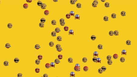 emoticono : Animation of emoji icons flying up on yellow background