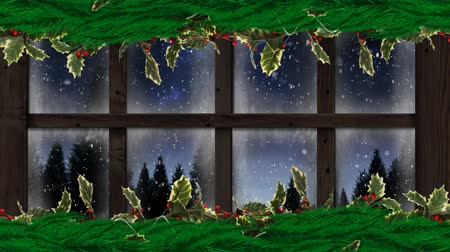 seasons changing : Animation of winter scenery seen through window with snowflakes falling and fir trees in countryside with Christmas decoration of holly and berries in the foreground