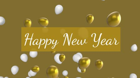 ballonvaart : Animation of the words Happy New Year written in white letters on golden rectangle with gold and white balloons flying up in the background Stockvideo