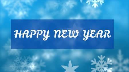 list : Animation of the words Happy New Year written in white letters on blue rectangle with snowflakes on blue background