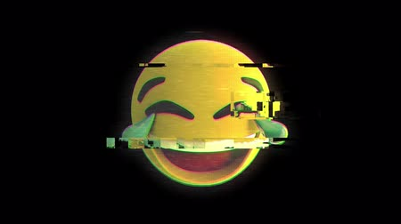 risonho : Animation of laughing flickering emoji icon on black background Vídeos